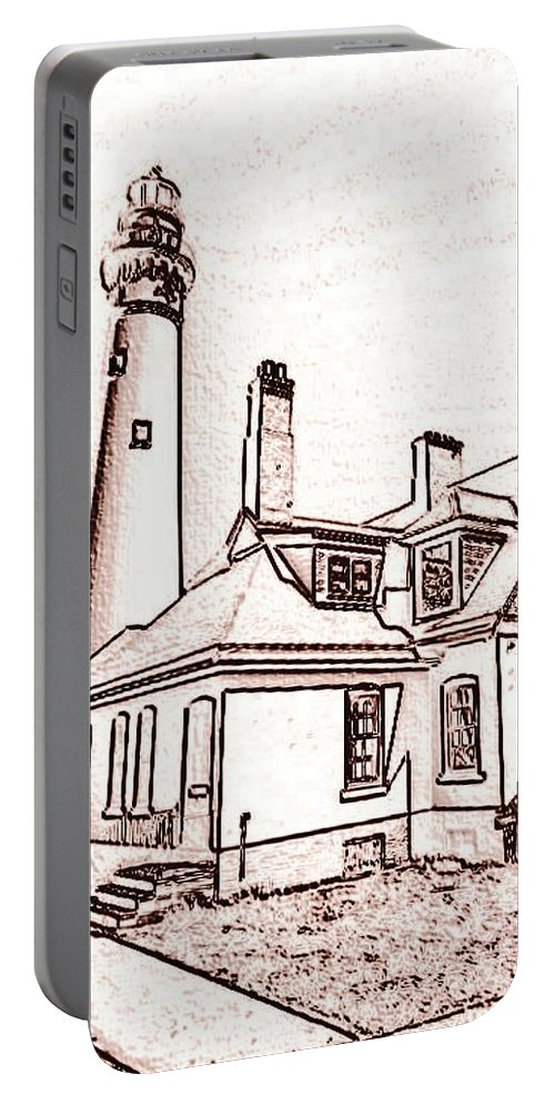 Portable Battery Charger featuring the photograph Wind Point Lighthouse Drawing Mode 1 by Daniel Thompson