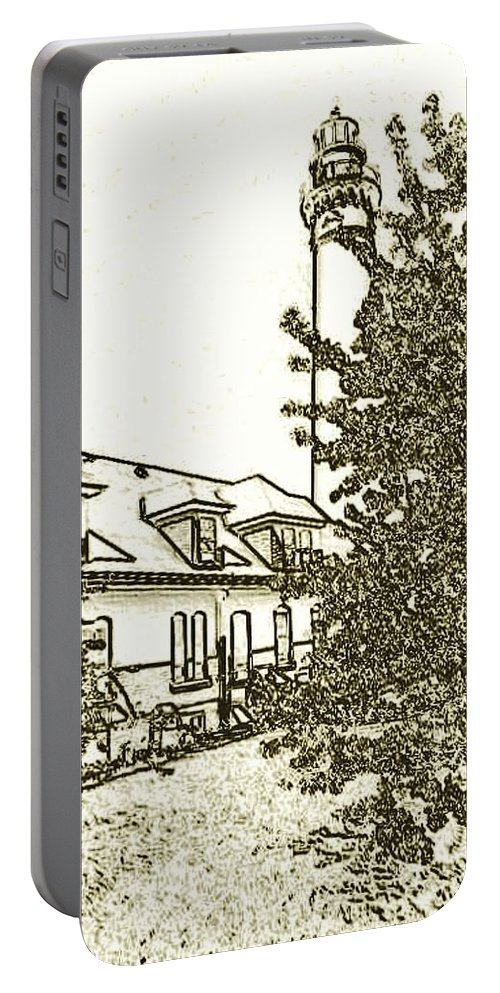 Lighthouse Portable Battery Charger featuring the photograph Wind Point Lighthouse Drawing Mode 2 by Daniel Thompson