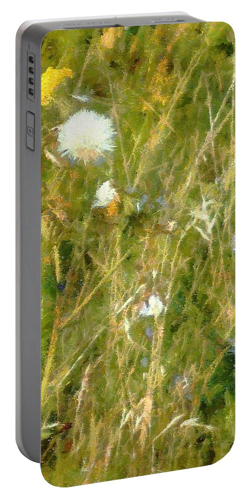 Bluets Portable Battery Charger featuring the painting Wind Through The Meadow by RC DeWinter
