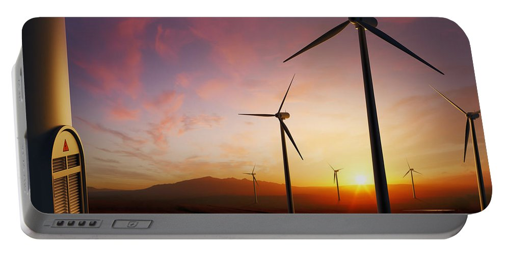 Wind Portable Battery Charger featuring the photograph Wind Turbines At Sunset by Johan Swanepoel