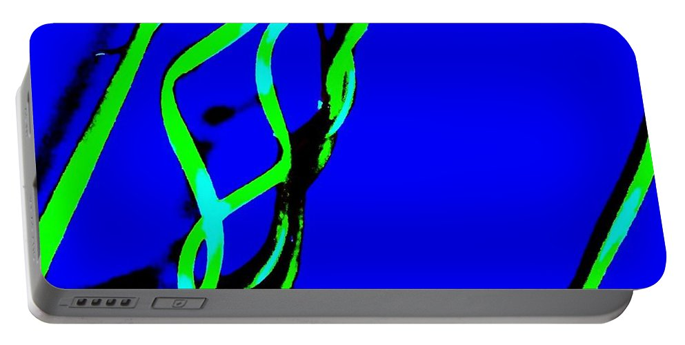 Curves Portable Battery Charger featuring the photograph Winding Green And Blue Abstract by Eric Schiabor