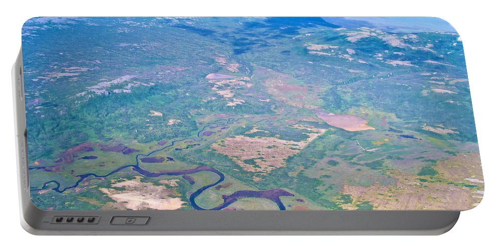 Winding River From The Seaplane Portable Battery Charger featuring the photograph Winding River From The Seaplane In Katmai National Preserve-alaska by Ruth Hager