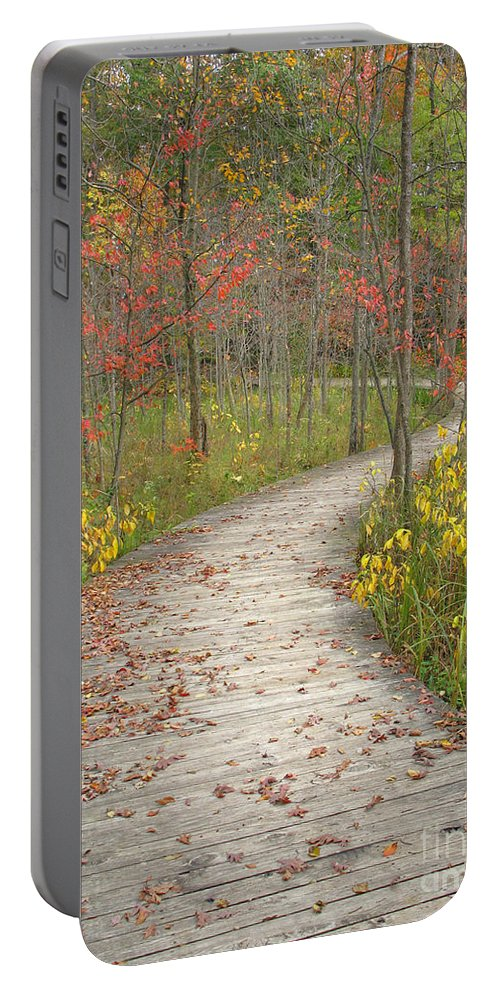 Autumn Portable Battery Charger featuring the photograph Winding Woods Walk by Ann Horn