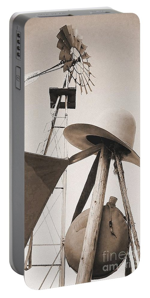 Windmill Portable Battery Charger featuring the photograph Windmill Canteen And Cowboy Hat 4 by Cindy New