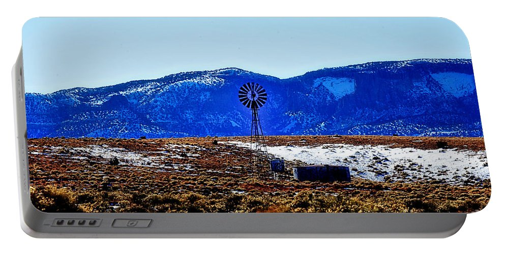 Windmill Portable Battery Charger featuring the photograph Windmill In The Snow by Douglas Barnard
