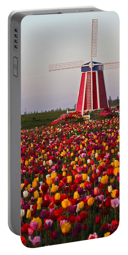 Windmill Portable Battery Charger featuring the photograph Windmill Of Flowers by Athena Mckinzie