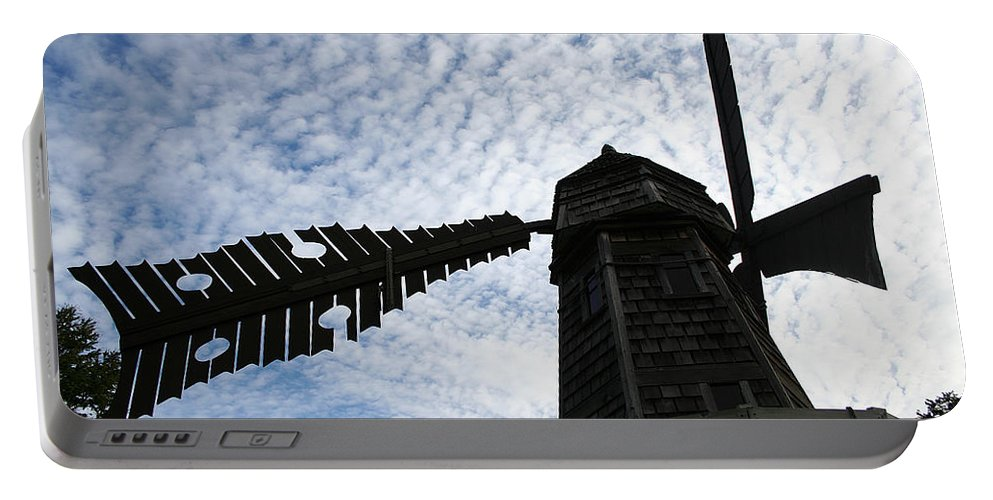 Windmill Portable Battery Charger featuring the photograph Windmill On A Cloudy Day by William Selander