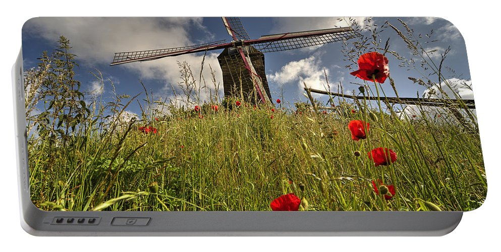Windmill Portable Battery Charger featuring the photograph Windmill Poppies by Rob Hawkins