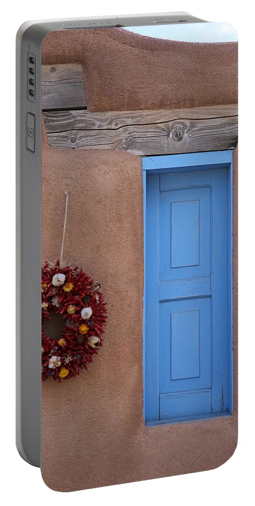 Adobe Portable Battery Charger featuring the photograph Window And Ristra by Lynn Sprowl