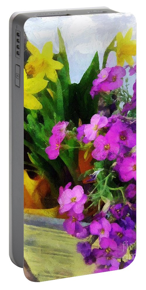 Floral Portable Battery Charger featuring the painting Window Box On A Windy Day by RC DeWinter