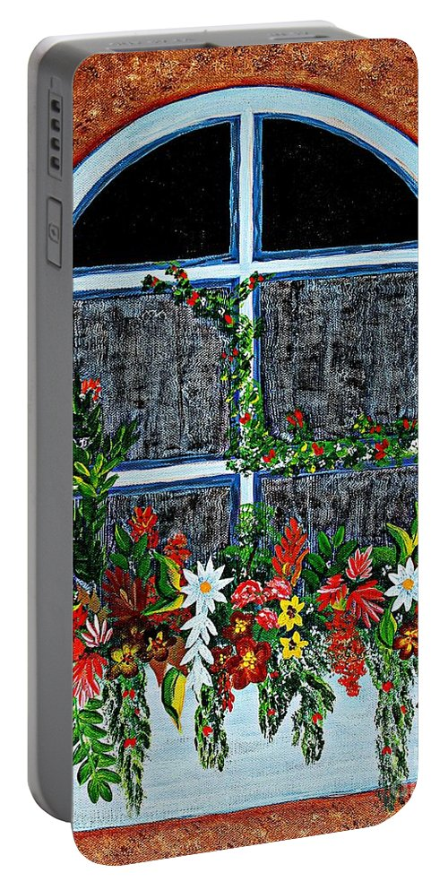 Window Flower Box On A Stucco Wall Portable Battery Charger featuring the painting Window Flower Box On A Stucco Wall by Barbara Griffin