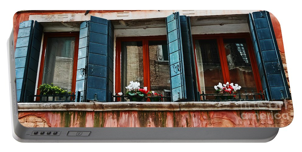 Travel Portable Battery Charger featuring the photograph Window Of Venice by Elvis Vaughn