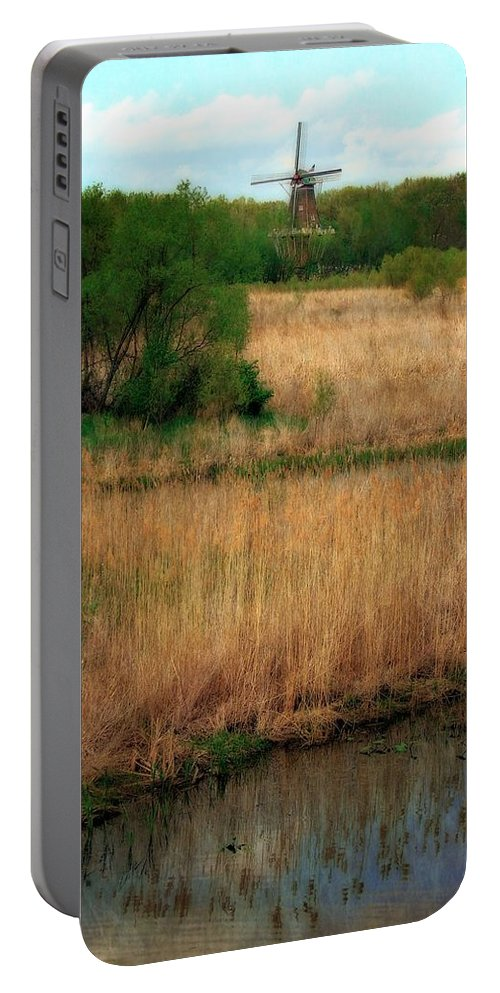 Windmill Island Portable Battery Charger featuring the photograph Window On The Waterfront Dezwaan Windmill by Michelle Calkins