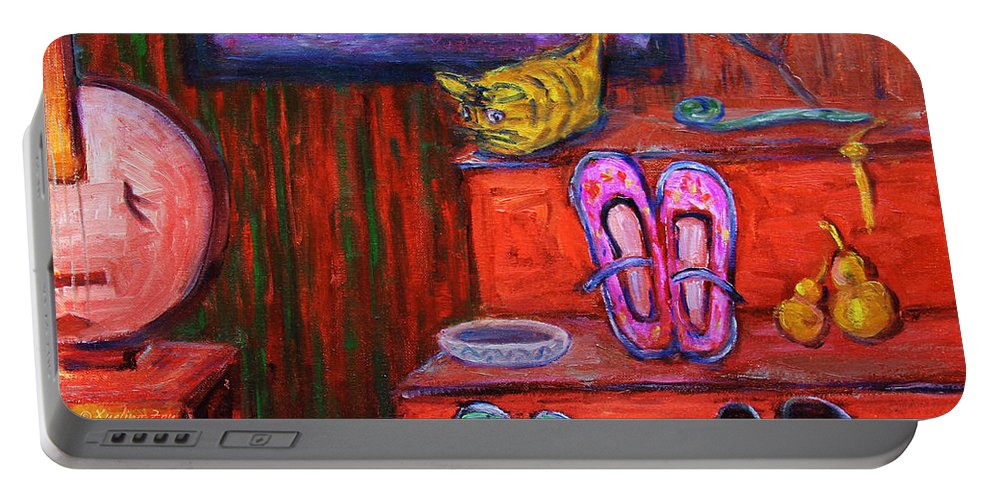 Still Life Portable Battery Charger featuring the painting Window Shopping 1 by Xueling Zou