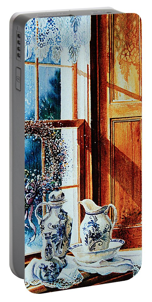 Still Life Portable Battery Charger featuring the painting Window Treasures by Hanne Lore Koehler
