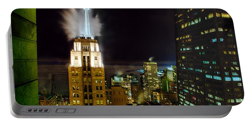 Cityscape Portable Battery Charger featuring the photograph Window View by Ryan Crane