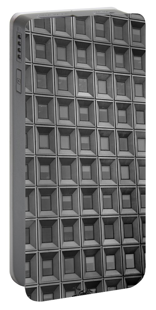 Abstract Portable Battery Charger featuring the photograph Windows In Black And White by Rob Hans