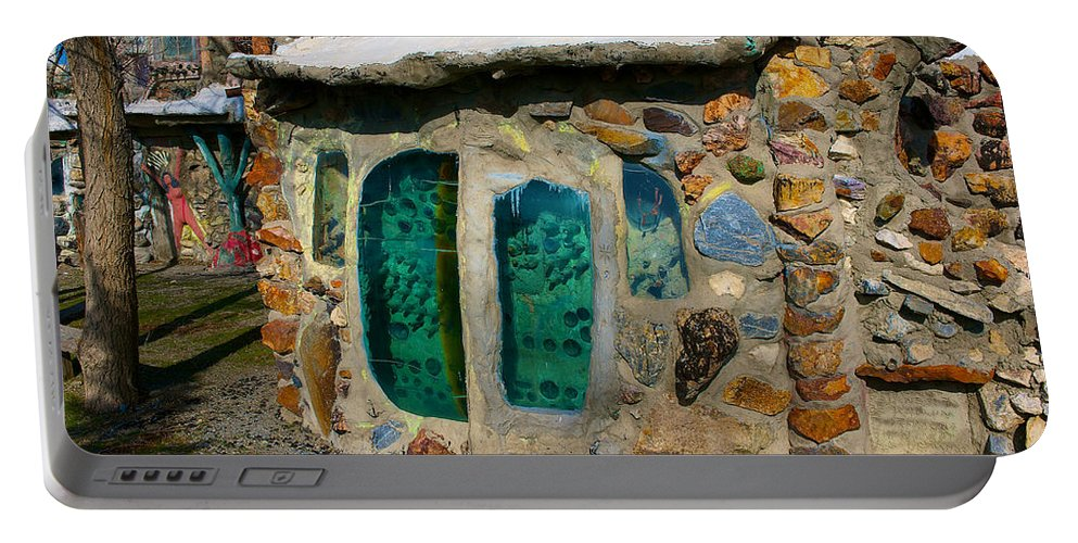 Thunder Mountain Indian Monument Portable Battery Charger featuring the photograph Windshield Windows 2 by Richard J Cassato