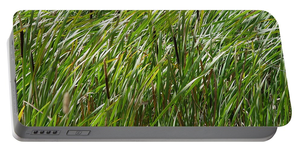 Nature Portable Battery Charger featuring the photograph Windswept Cattails by Noa Mohlabane