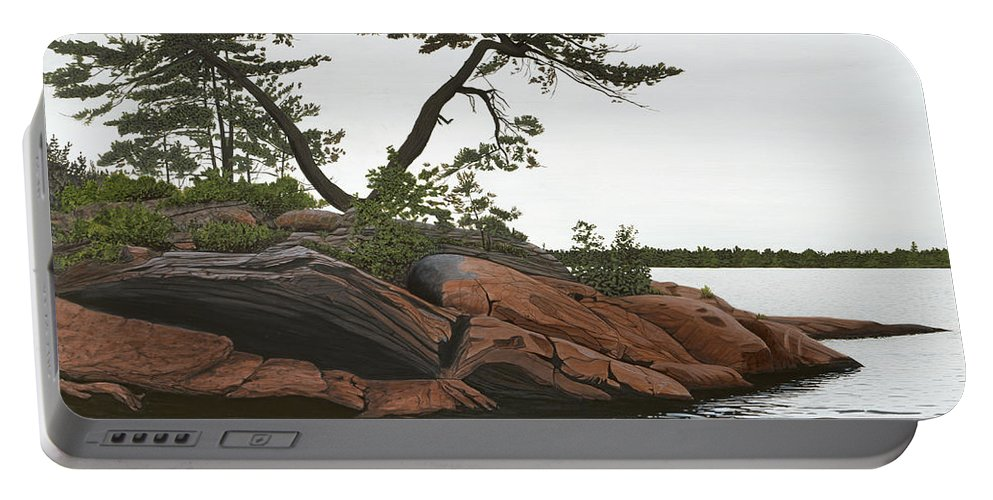 Landscape Paintings Portable Battery Charger featuring the painting Windswept by Kenneth M Kirsch
