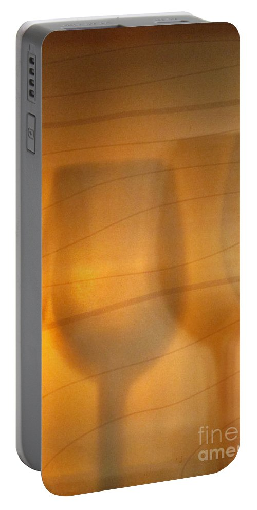 Alcohol; Liquid; Liquor; Wine; Glass; Gold; Golden; Drink; Elegant; Crystal; Libation; Pattern; Many; Design; Silhouette; Back Lit; Shadows; Stemware; Bar; Restaurant Portable Battery Charger featuring the photograph Wine Abstract by Margie Hurwich