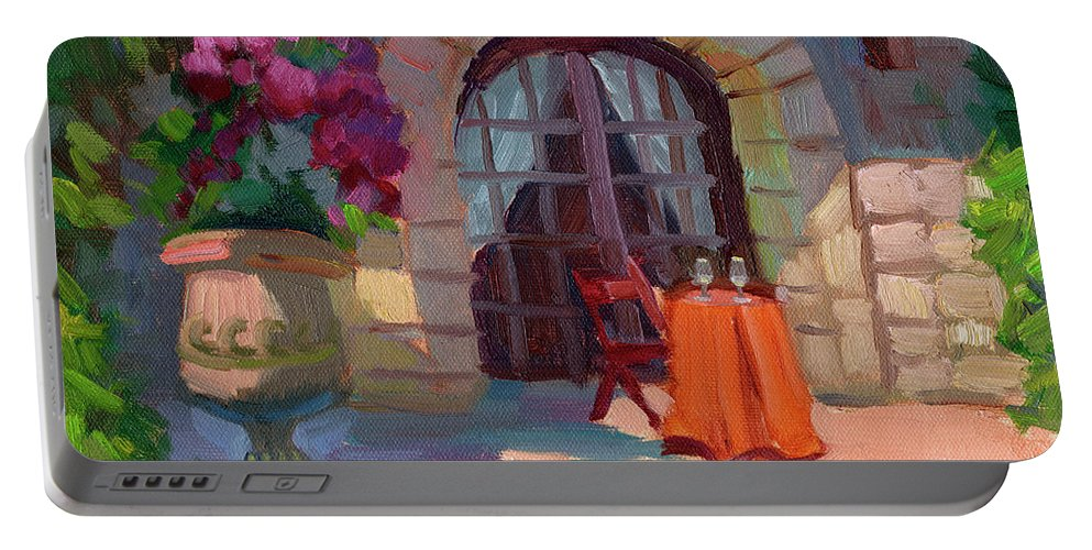 Wine For Two Portable Battery Charger featuring the painting Wine For Two by Diane McClary