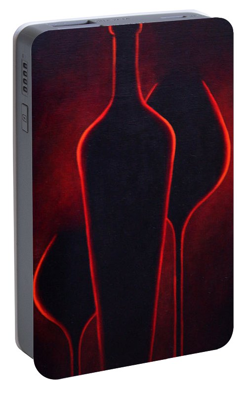Abstract Portable Battery Charger featuring the painting Wine Glow by Sandi Whetzel