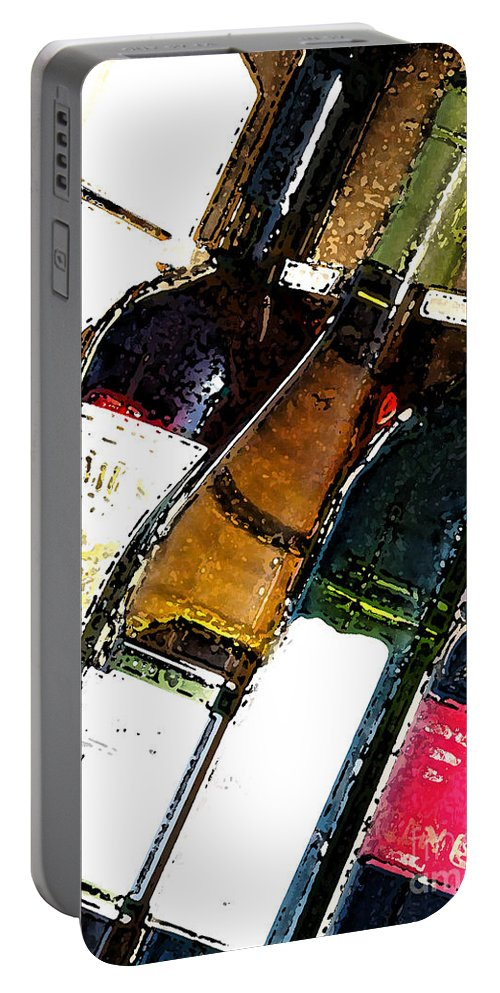 Case Portable Battery Charger featuring the photograph Wine In A Row by Flamingo Graphix John Ellis