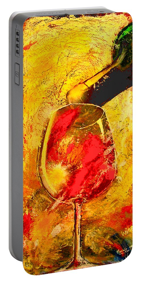 Wine Portable Battery Charger featuring the painting Wine by Marcello Cicchini