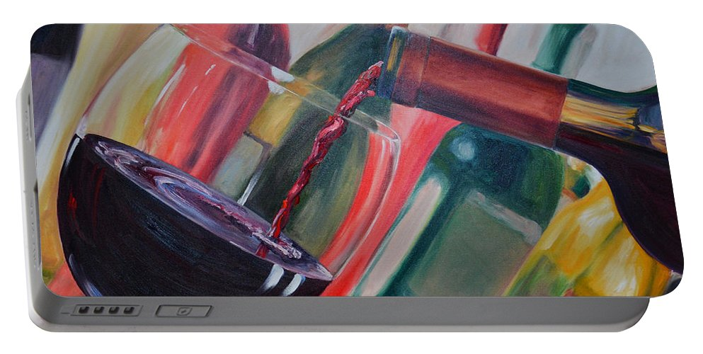 Wine Portable Battery Charger featuring the painting Wine Pour IIi by Donna Tuten