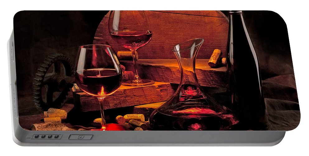 Wine Portable Battery Charger featuring the photograph Wine Still Life by Mike Penney