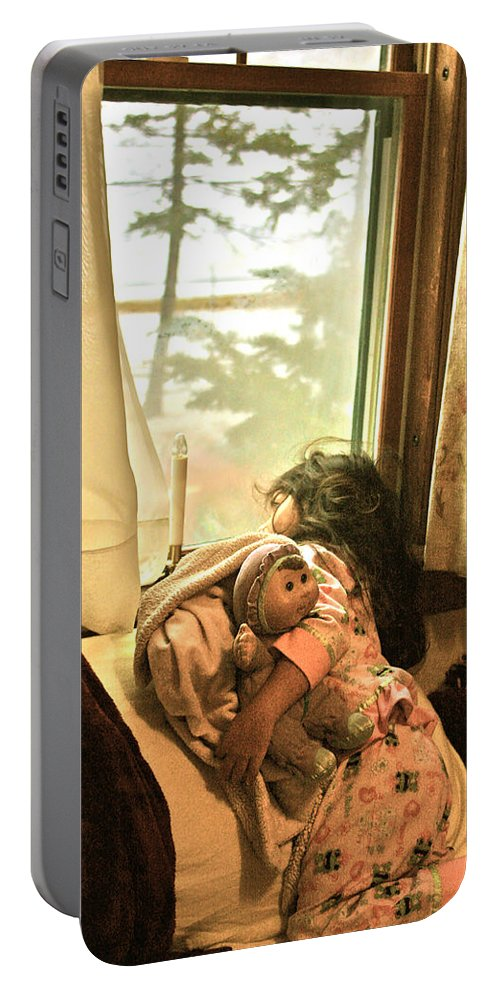 Girl Portable Battery Charger featuring the painting Winter 2013 by Carol Tsiatsios