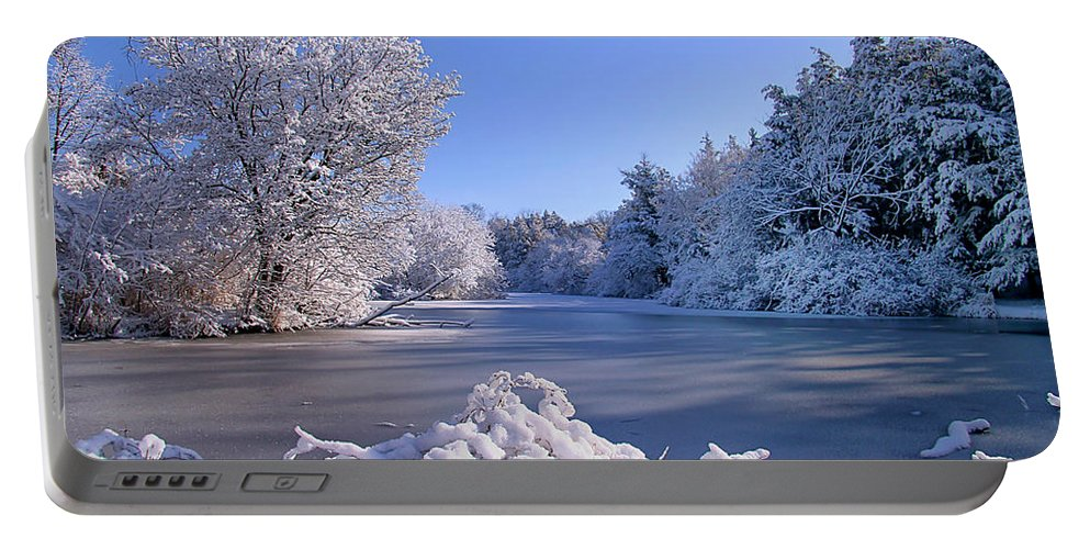 Snow Portable Battery Charger featuring the photograph Winter At Lake Marmo by John Absher