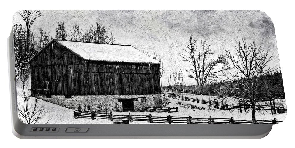 Barn Portable Battery Charger featuring the photograph Winter Barn Impasto Version by Steve Harrington