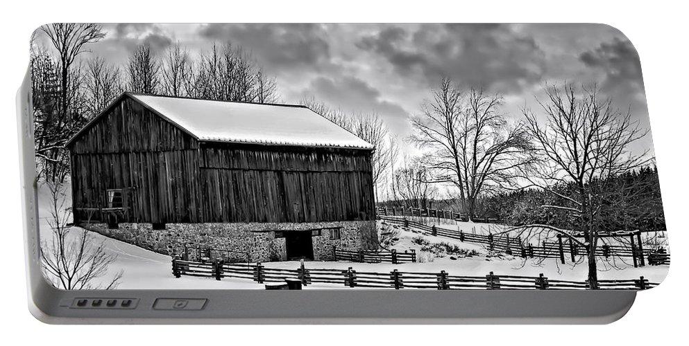 Barn Portable Battery Charger featuring the photograph Winter Barn Monochrome by Steve Harrington