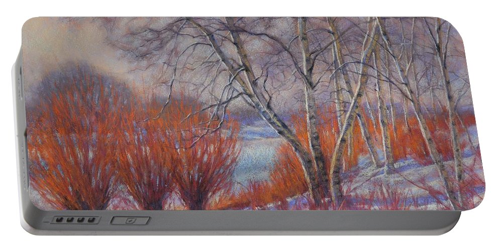Willow Portable Battery Charger featuring the pastel Winter Birches And Red Willows 1 by Fiona Craig