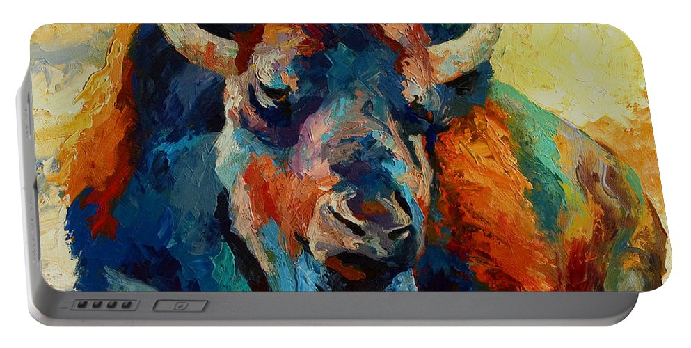 Wildlife Portable Battery Charger featuring the painting Winter Bison by Marion Rose