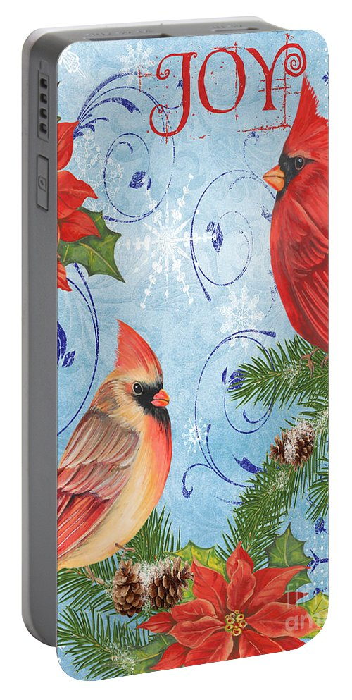 Watercolor Painting Portable Battery Charger featuring the mixed media Winter Blue Cardinals-joy Card by Jean Plout