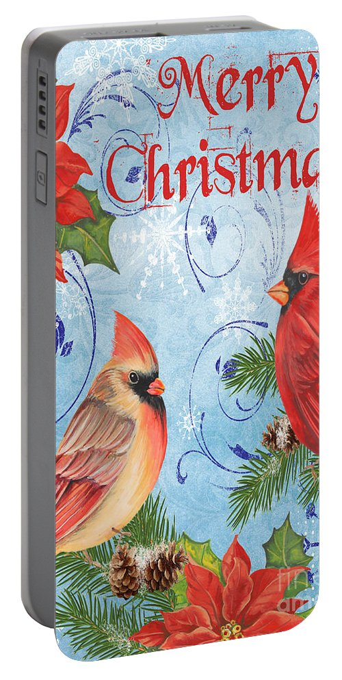 Watercolor Painting Portable Battery Charger featuring the mixed media Winter Blue Cardinals-merry Christmas Card by Jean Plout
