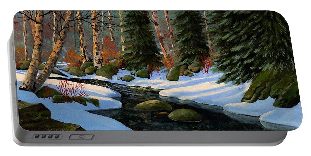 Landscape Portable Battery Charger featuring the painting Winter Brook by Frank Wilson