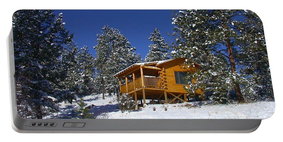 Winter Portable Battery Charger featuring the photograph Winter Cabin by Shane Bechler