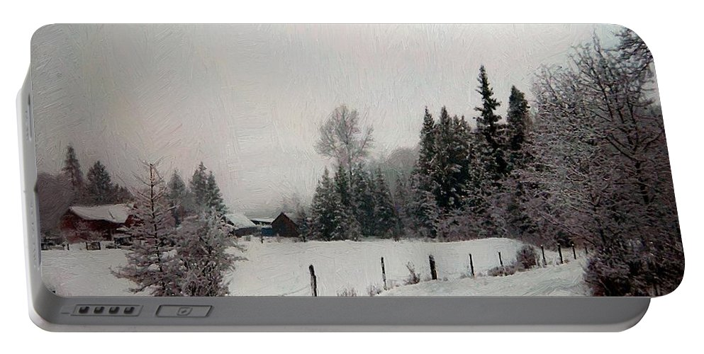 Winter Portable Battery Charger featuring the painting Winter Dawn by RC DeWinter