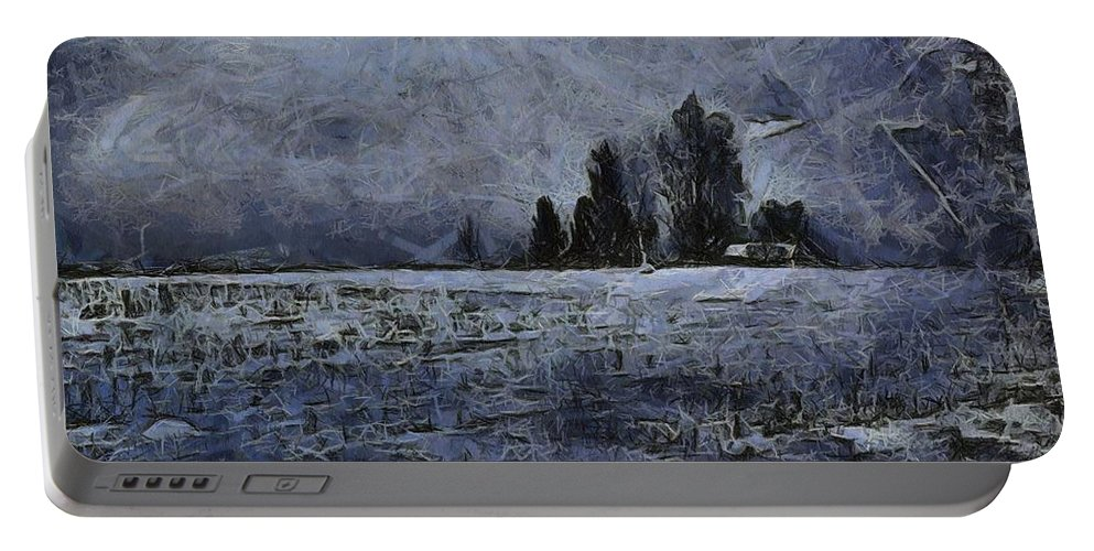 Winter Day Portable Battery Charger featuring the painting Winter Day by Dan Sproul