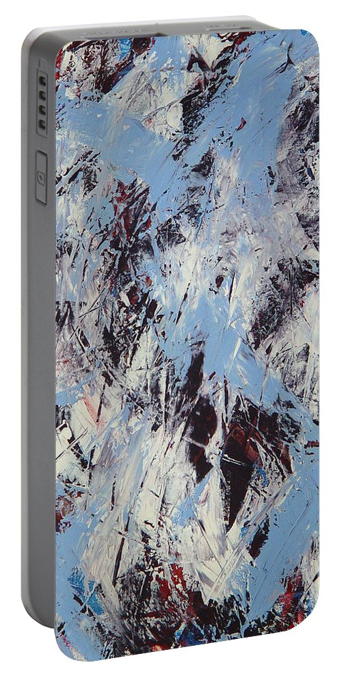 Abstract Portable Battery Charger featuring the painting Winter by Dean Triolo
