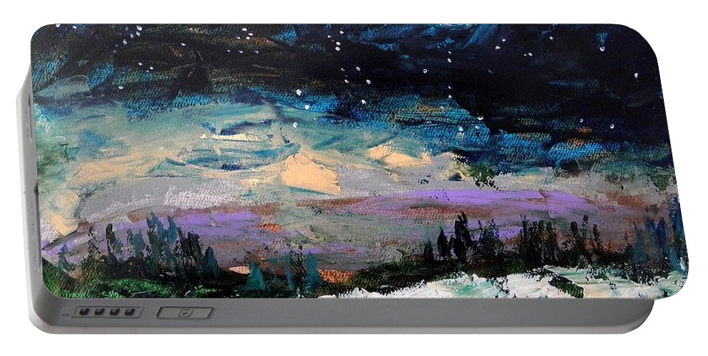 Moon Portable Battery Charger featuring the painting Winter Eclipse by John Williams