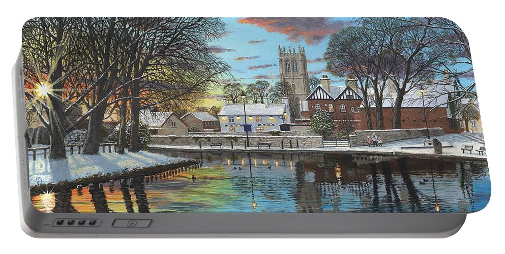 Tickhill Portable Battery Charger featuring the painting Winter Evening Tickhill Yorkshire by Richard Harpum
