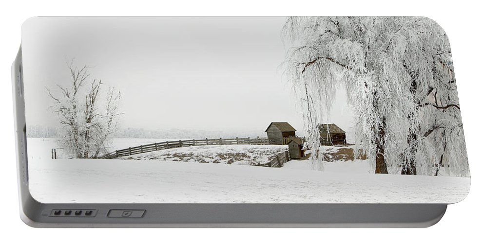 Hoar Portable Battery Charger featuring the photograph Winter Farm by Mary Jo Allen