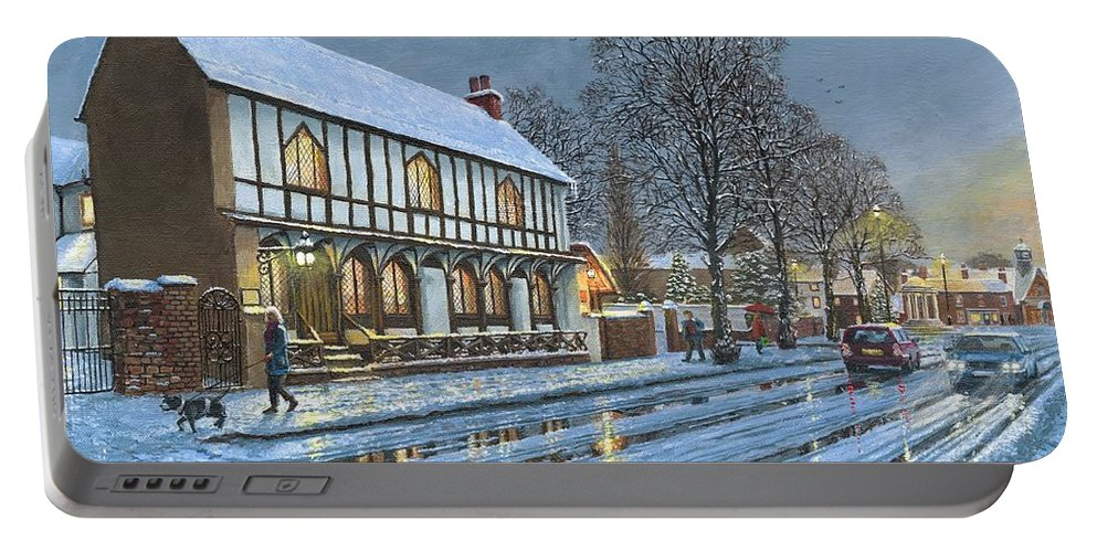 Parish Room Portable Battery Charger featuring the painting Winter Glow Parish Room Tickhill Yorkshire by Richard Harpum