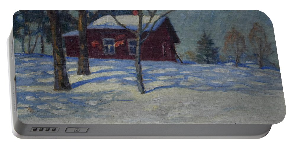 Janne Muusari Portable Battery Charger featuring the painting Winter House by Janne Muusari