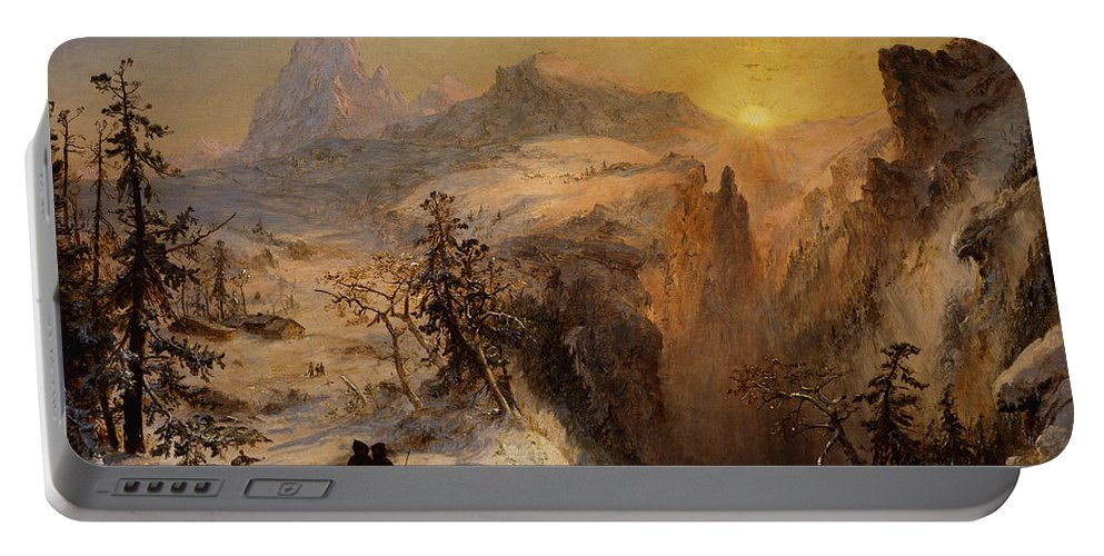 1860s Portable Battery Charger featuring the painting Winter In Switzerland by Jasper Francis Cropsey